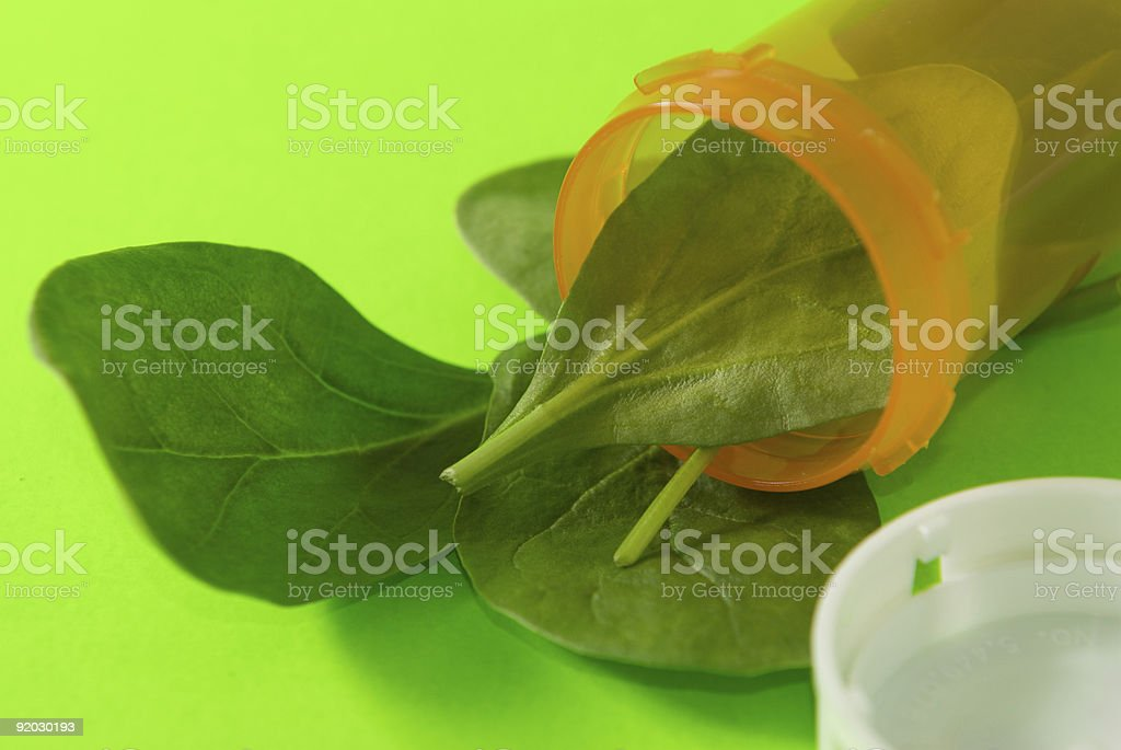 Spinach in a Bottle 1 royalty-free stock photo