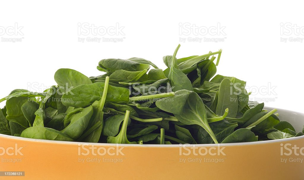 Spinach in Yellow Dish royalty-free stock photo