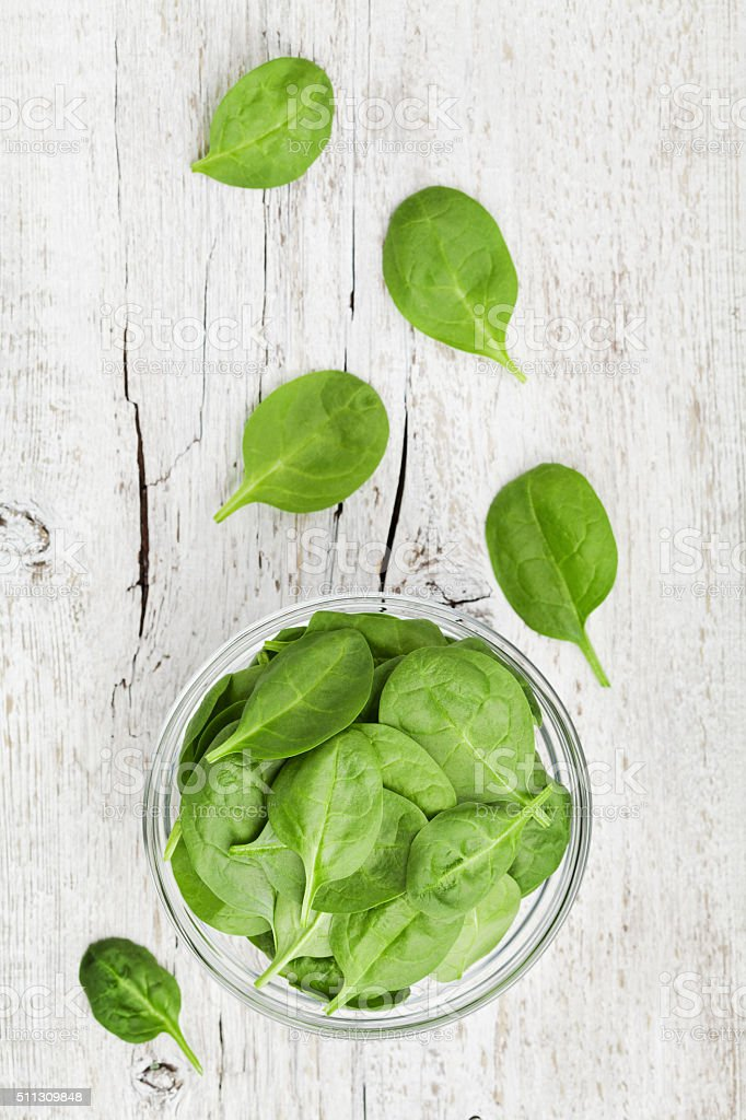Spinach leaves, organic and healthy food, top view stock photo