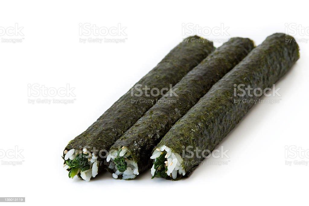 Spinach Maki Sushi royalty-free stock photo