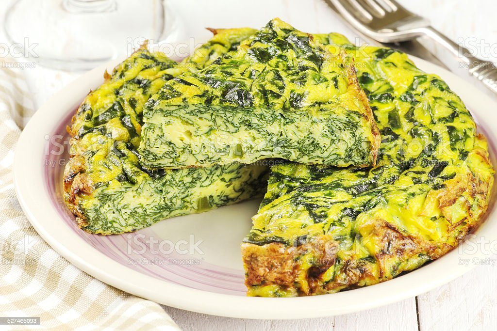 Spinach omelet stock photo