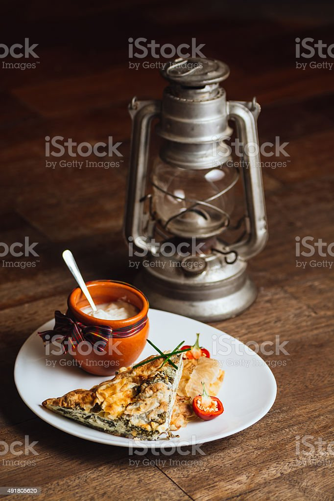 Spinach pie and sour milk royalty-free stock photo