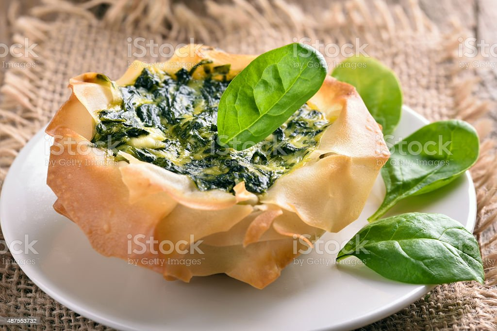 Spinach pie, close up view stock photo