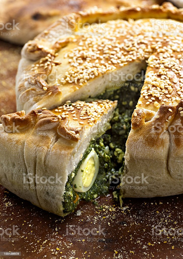 spinach pie stock photo