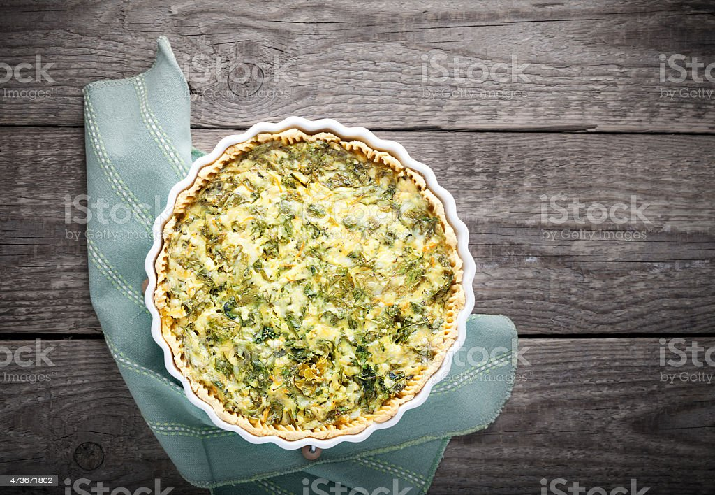 Spinach quiche, gluten free stock photo