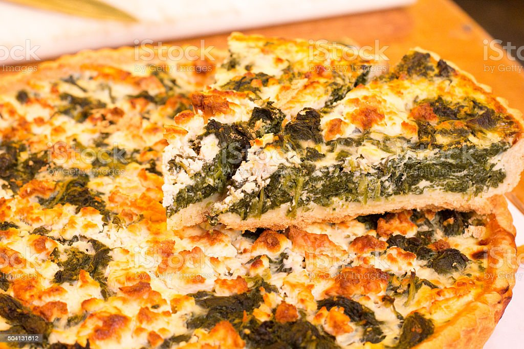 Spinach Quiche in Borough Market, London stock photo
