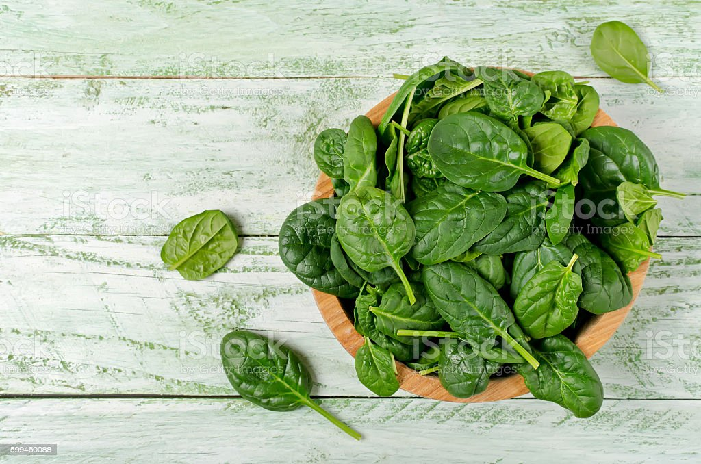 Spinach rich in vitamins and minerals stock photo