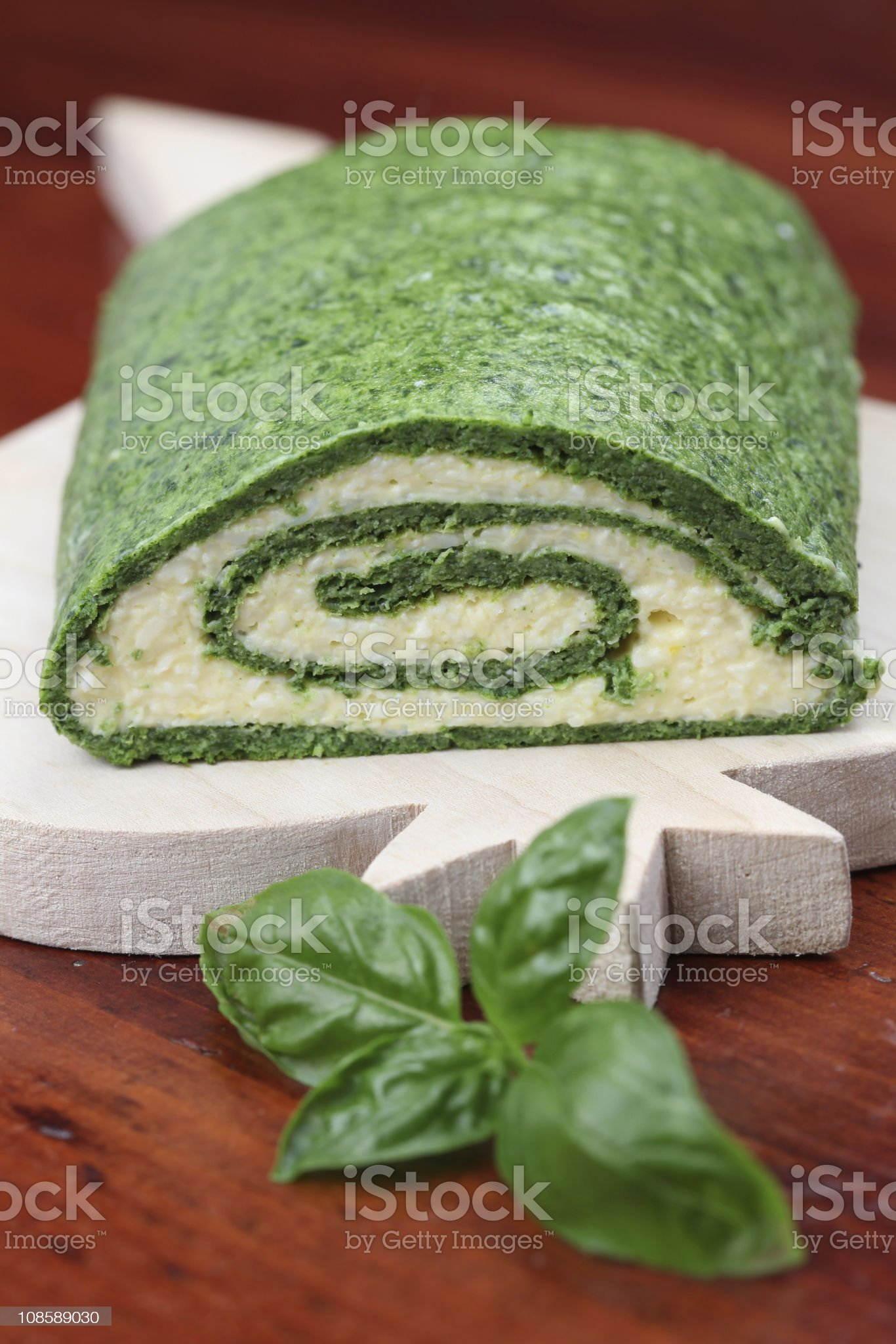 Spinach roll with eggs and cheese royalty-free stock photo
