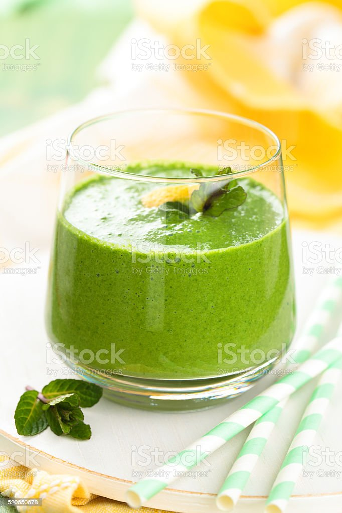 Spinach smoothie  with mint. stock photo