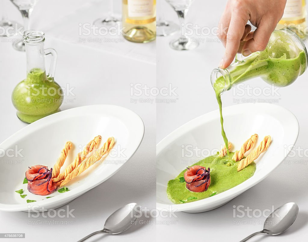 spinach soup with smoked salmon stock photo