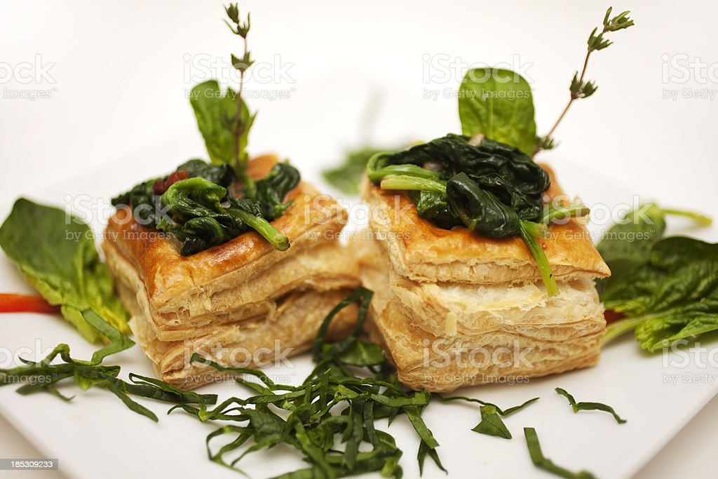 Spinach Tart Vol au Vent stock photo
