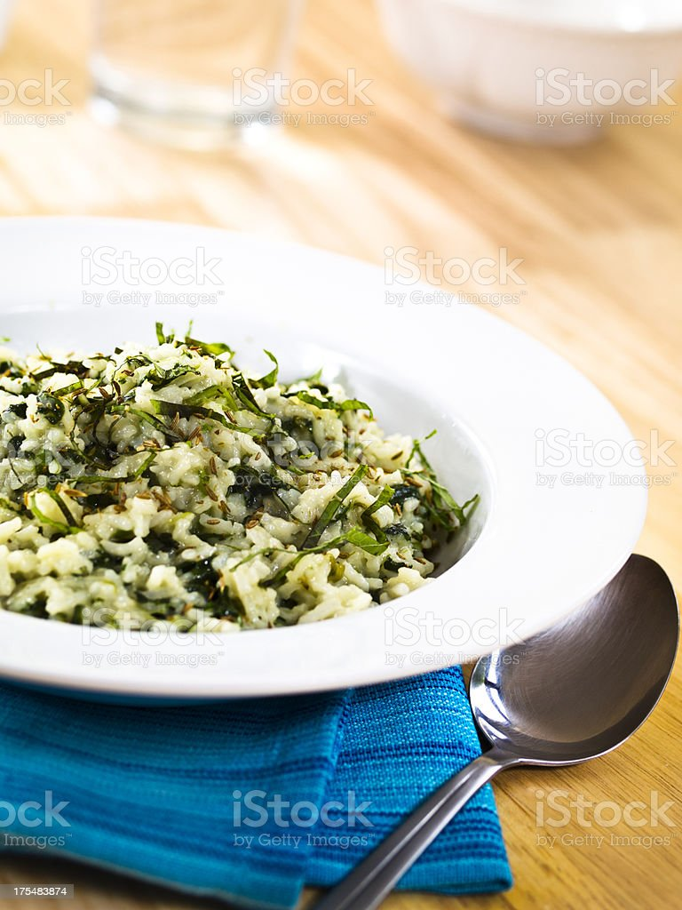spinach&cumin pilaf with fresh mint royalty-free stock photo