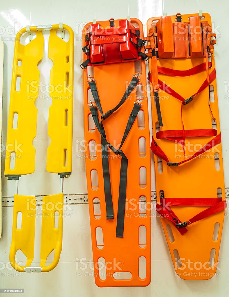 spinal board stock photo