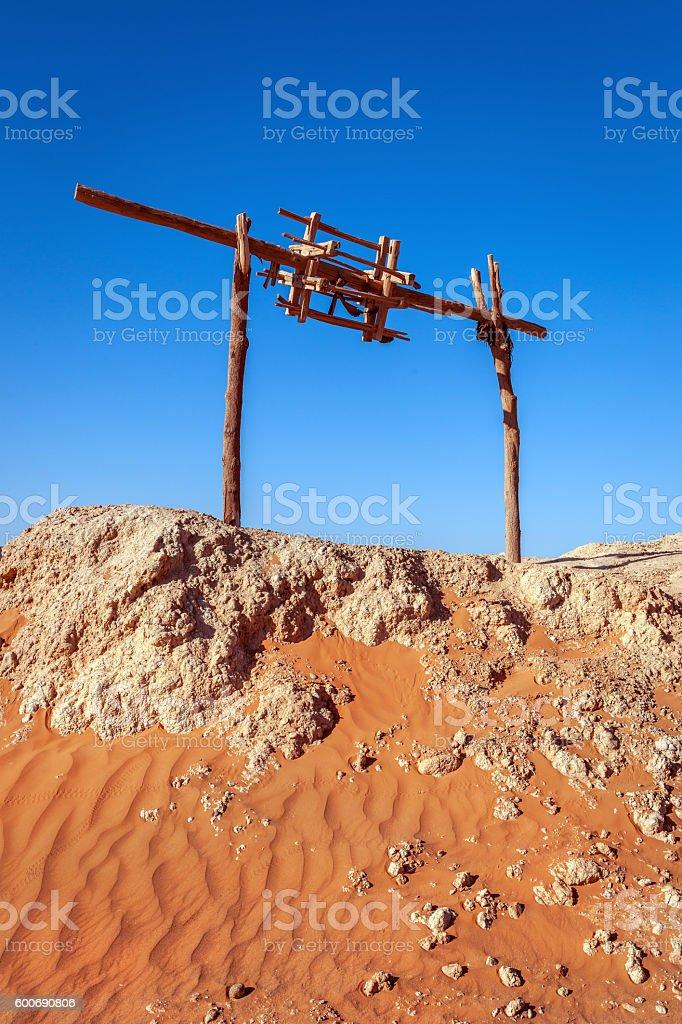 Spindle artesian wells Khettara irrigation system,fountain, Fezna, Morocco,Africa stock photo