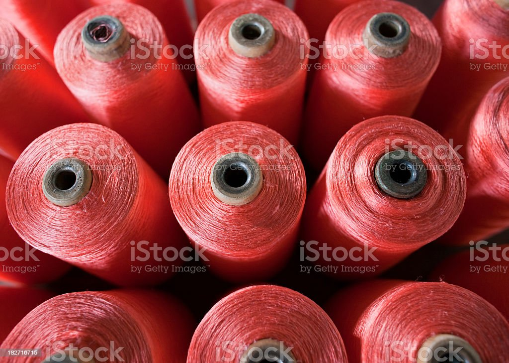 Spindles of Thai silk in a weaving factory. stock photo