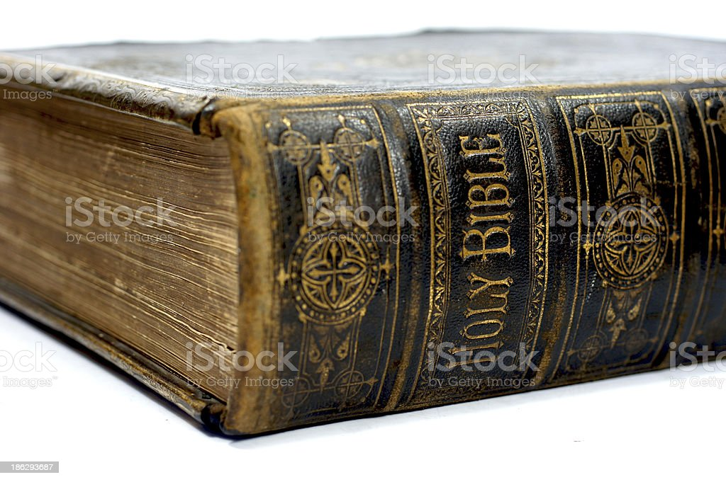 Spine of an old ancient holy bible royalty-free stock photo