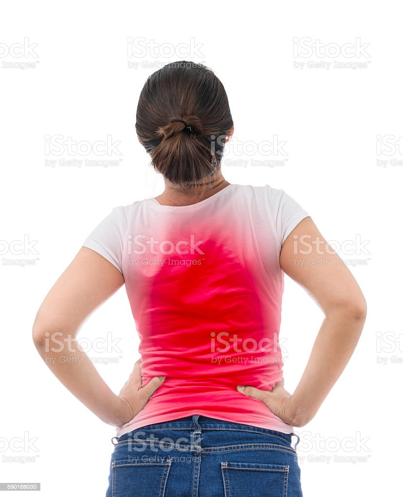 Spine osteoporosis. Scoliosis. Spinal cord problems on woman's b stock photo