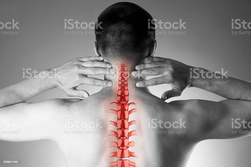 Spine pain, man with backache and ache in the neck, black and white...