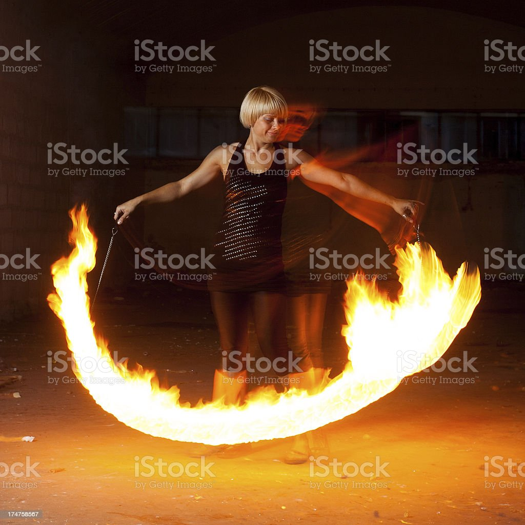 Spining the poi royalty-free stock photo