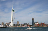 Spinnaker Tower and Gunwharf Quays in Portsmouth Harbour