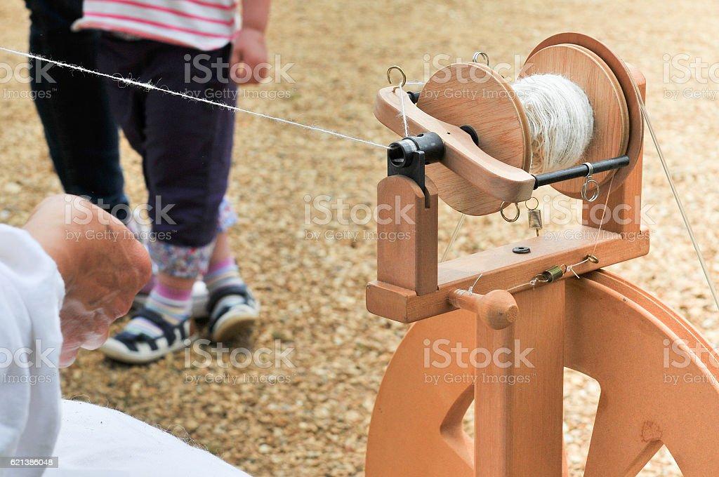 Spinning a yarn stock photo