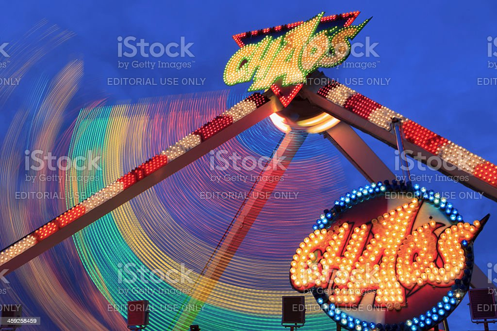 spinning attraction called Choas at a funfair in The Hague stock photo