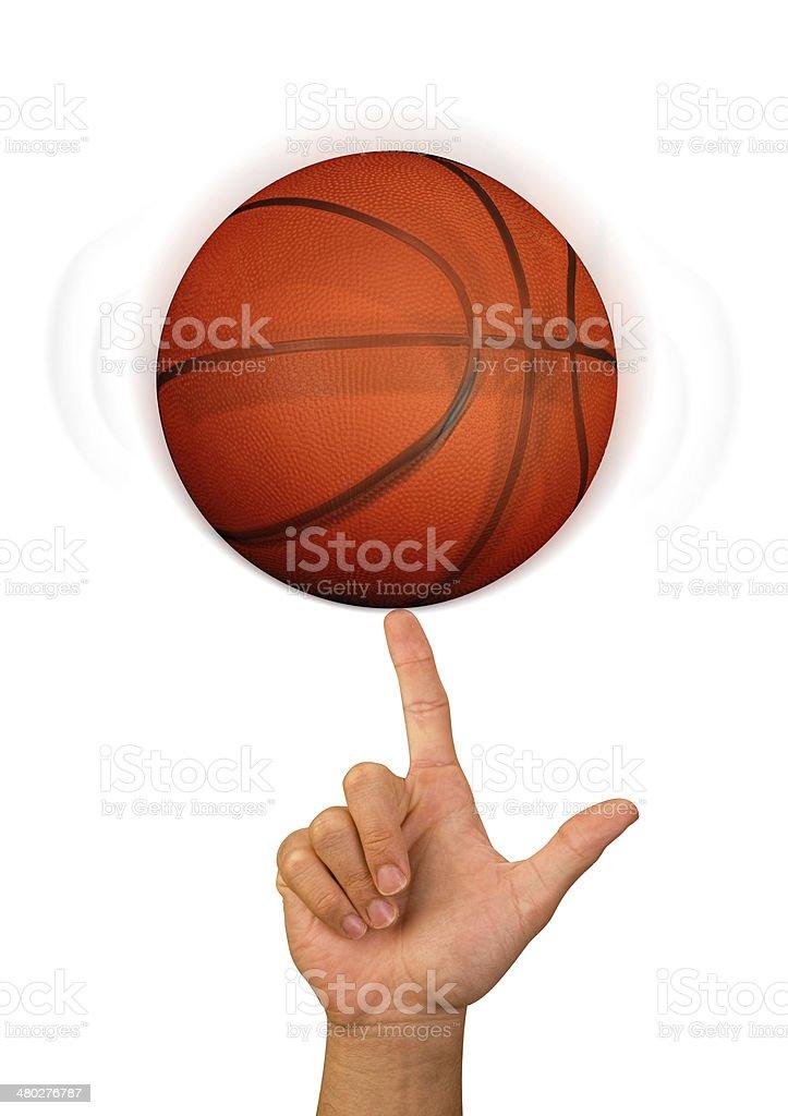 Spinning basketball on finger.