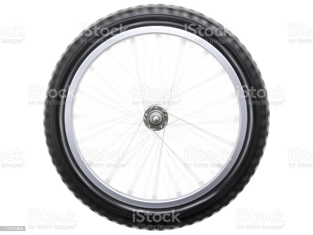 Spinning bicycle wheel royalty-free stock photo