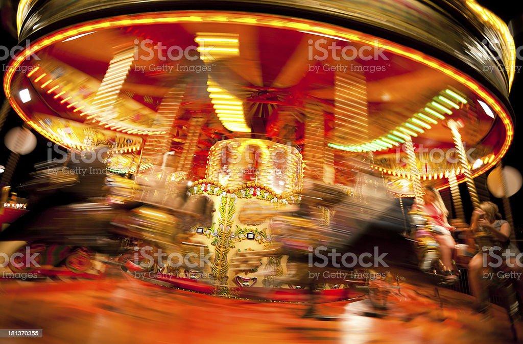 Spinning Carousel at Night royalty-free stock photo