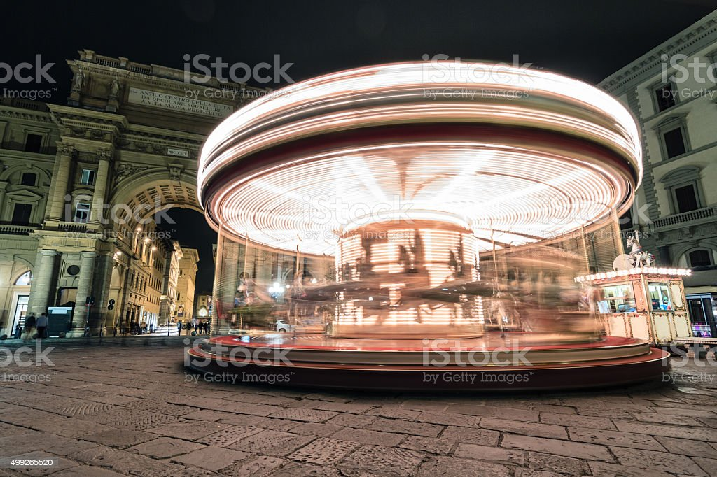 Spinning carousel in Firenze, Tuscany stock photo