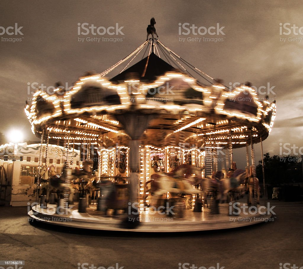 spinning carousel in Paris stock photo