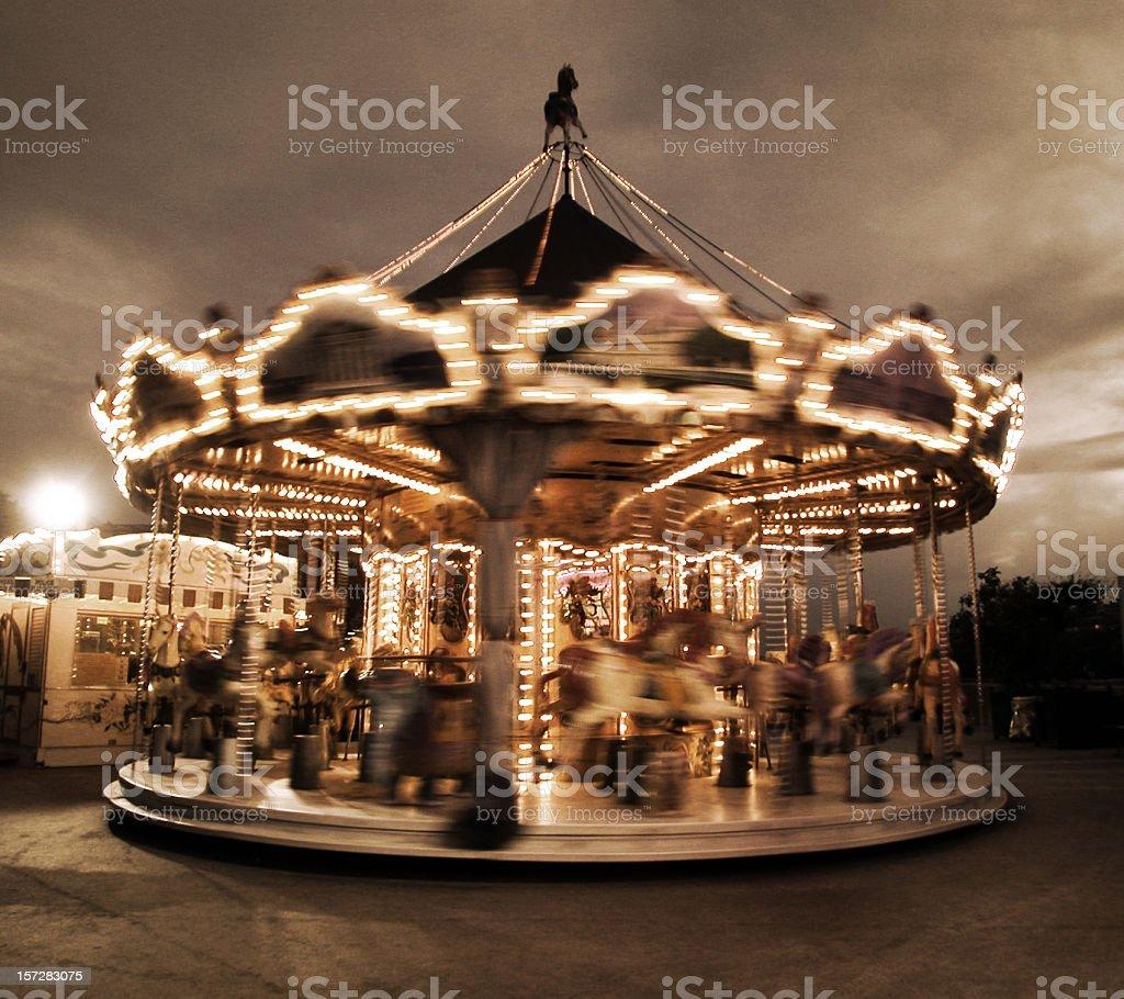 spinning carousel in Paris stock photo