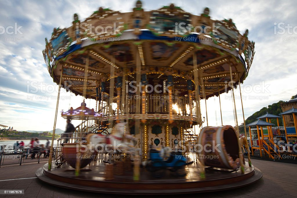 Spinning Carousel stock photo