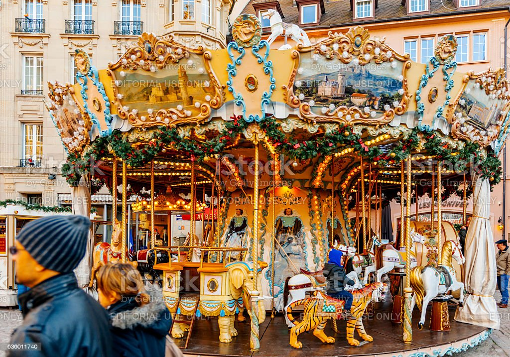 Spinning Christmas market carousel Merry-Go-Round stock photo