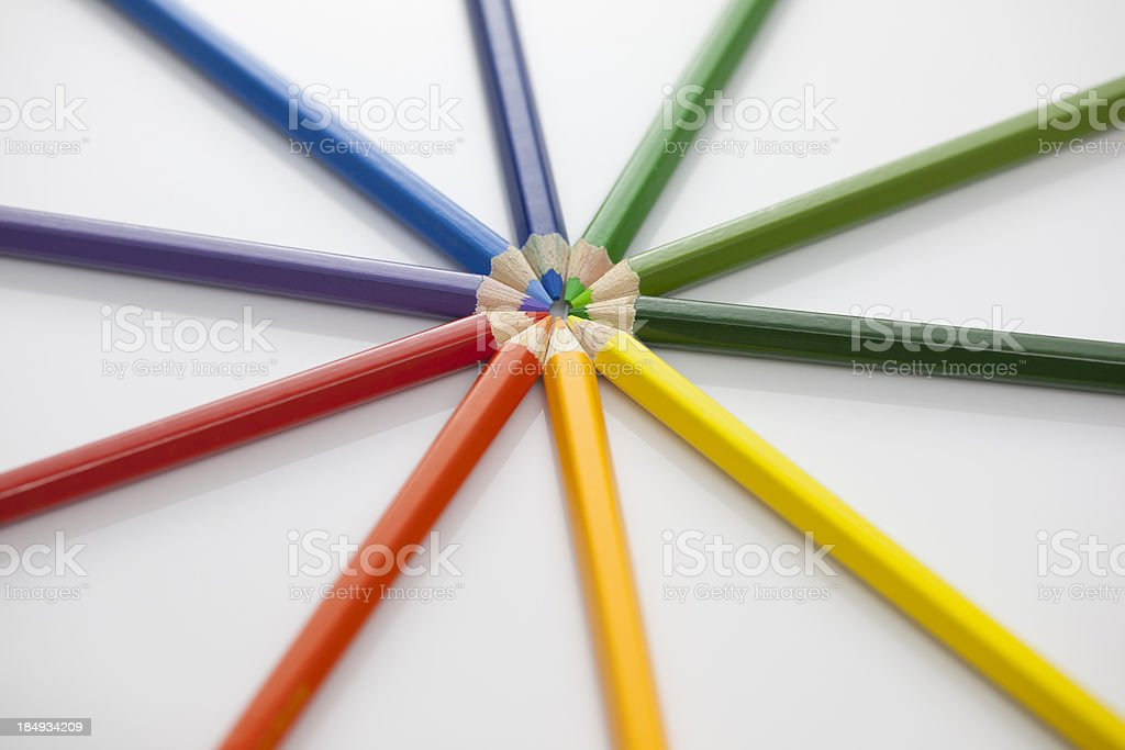 Spinning Colored Pencils royalty-free stock photo