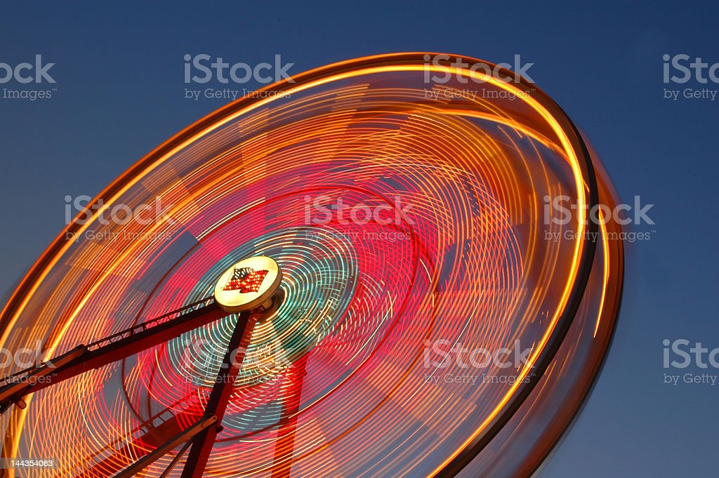 Spinning Ferris Wheel at night royalty-free stock photo