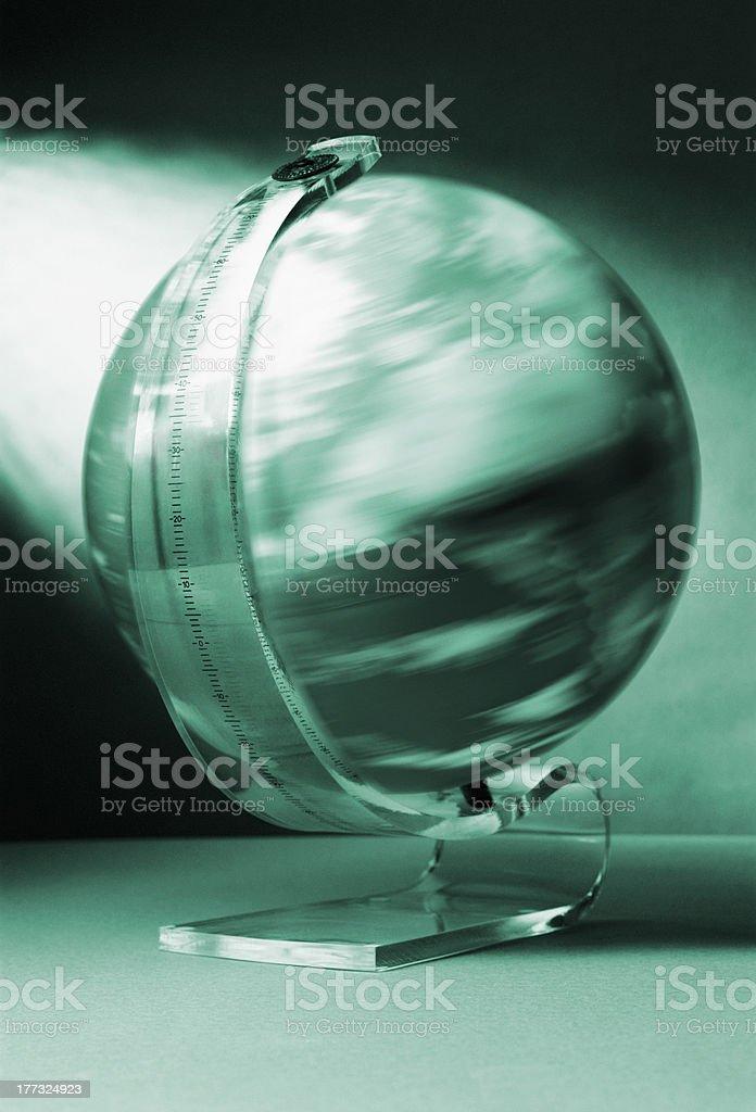 Spinning globe in perspex yoke stock photo