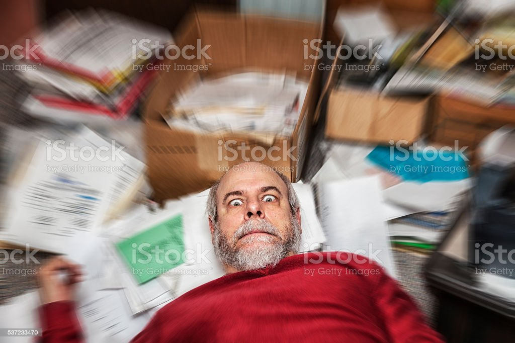 Spinning Office Paper Chaos Panic Business Man stock photo
