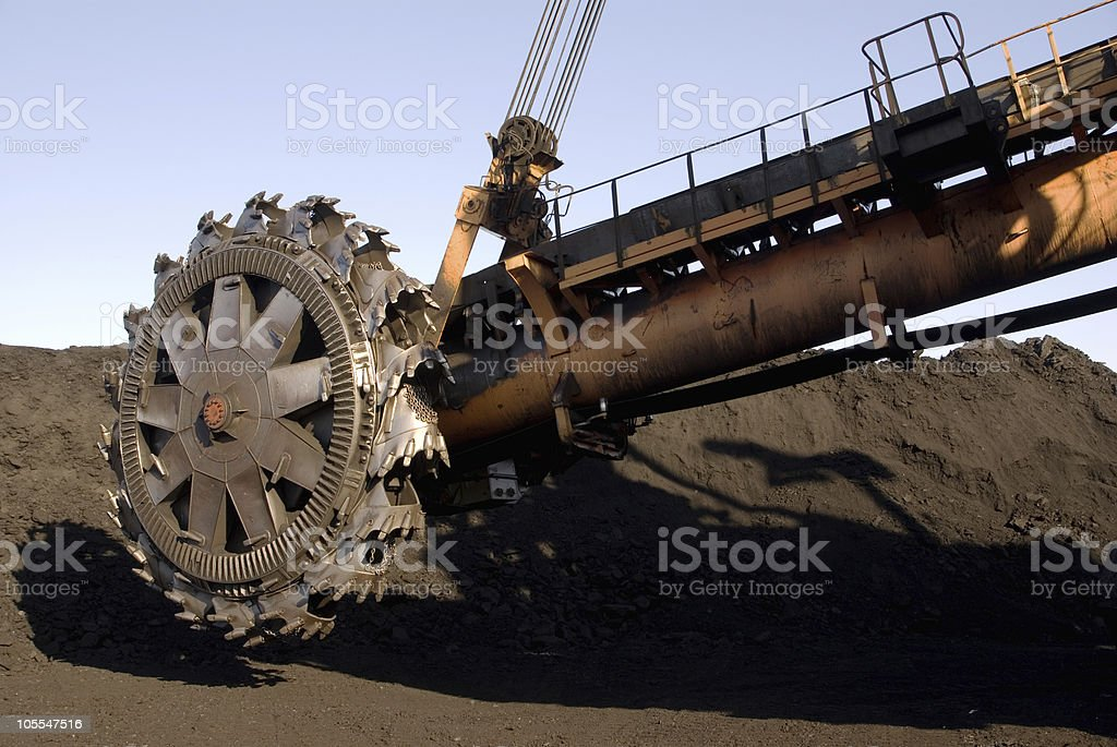 Spinning part of rotor digger at a coal mine royalty-free stock photo