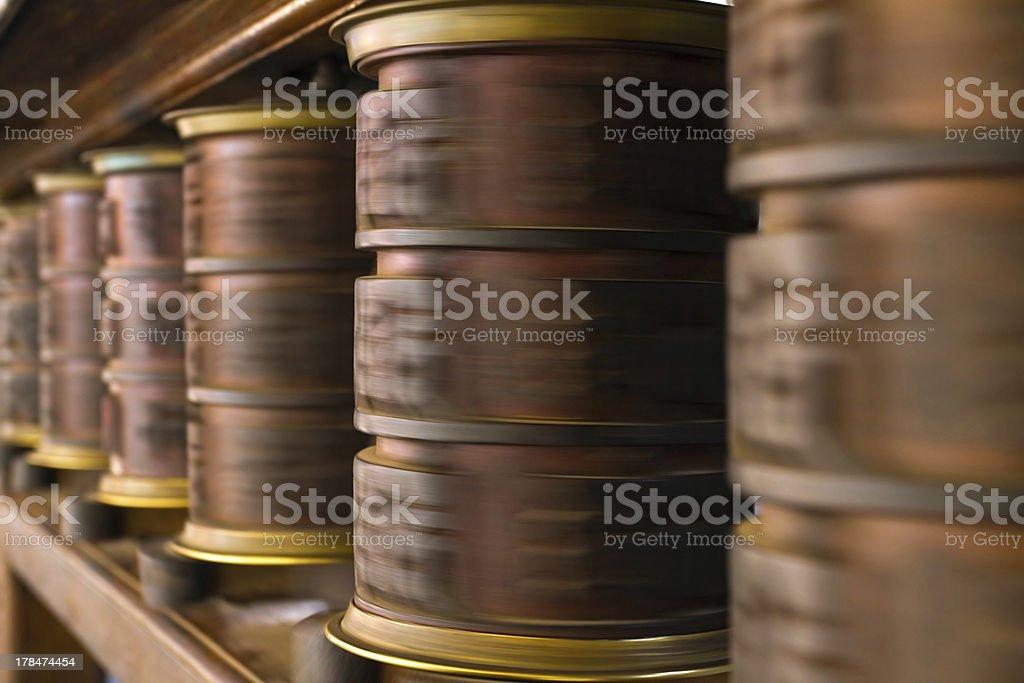 Spinning prayer wheels in Kathmandu, Nepal royalty-free stock photo