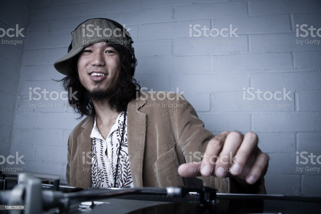 DJ Spinning Records stock photo