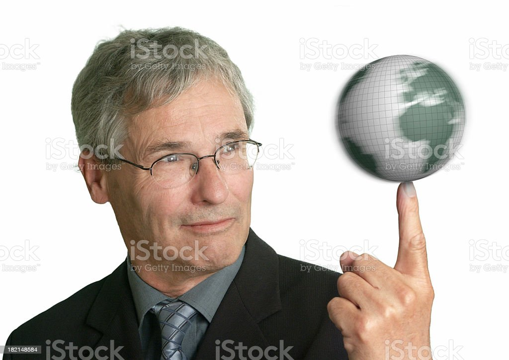 Spinning the world on his finger stock photo