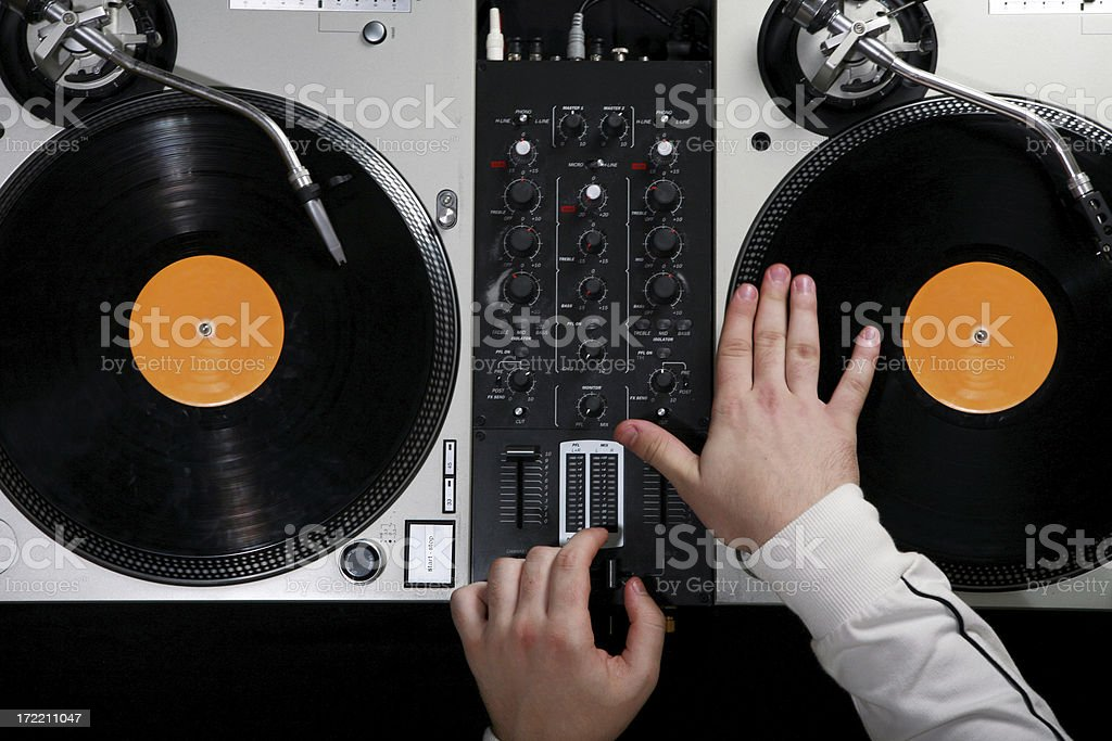 DJ Spinning Top View stock photo