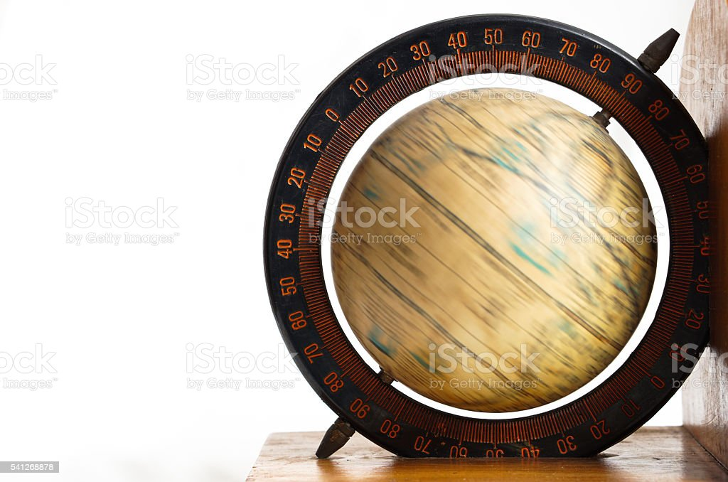 spinning vintage global map stock photo