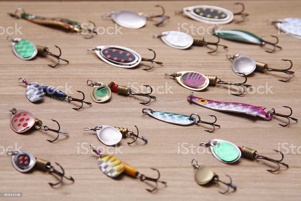 spinnners and spoon lures stock photo
