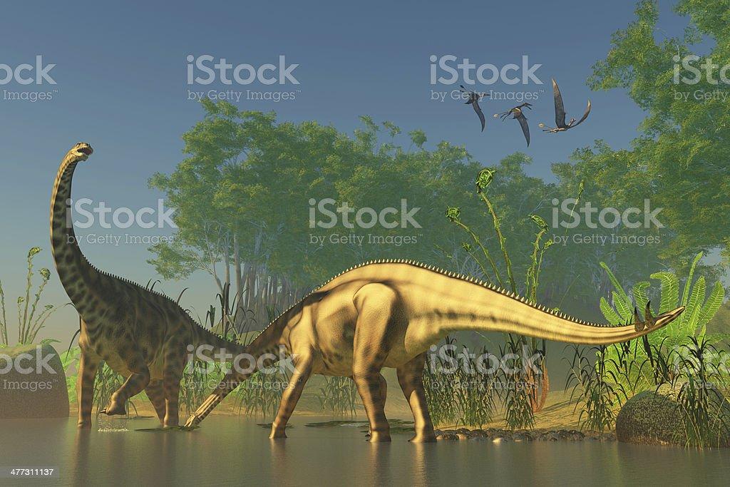 Spinophorosaurus in Swamp royalty-free stock photo