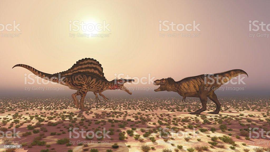 Spinosaurus and Tyrannosaurus Rex stock photo