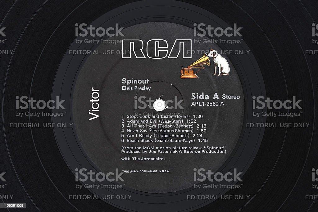 LP 'Spinout', 1966 soundtrack by Elvis Presley, label close-up royalty-free stock photo