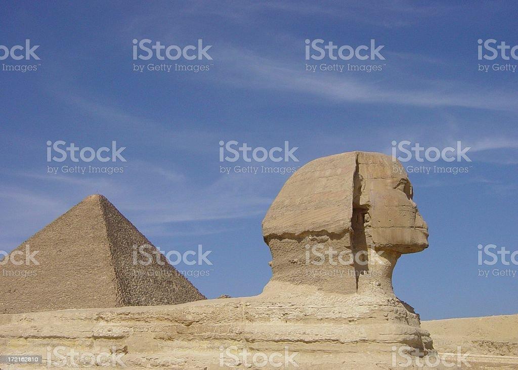 Spinx & Pyramid Close up stock photo