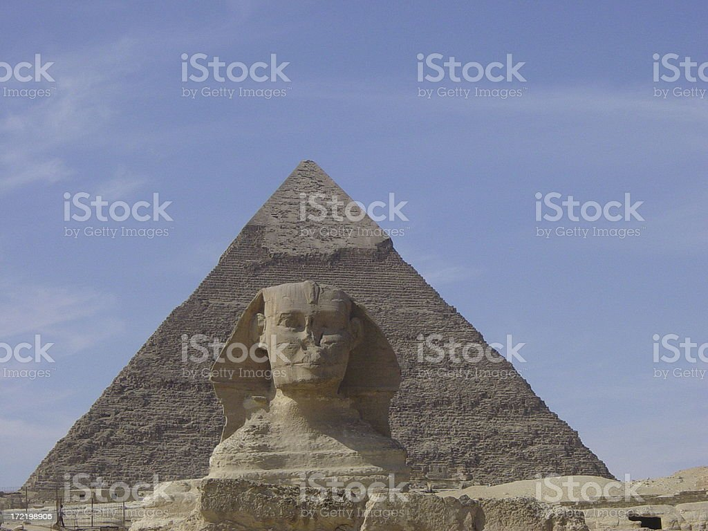 Spinx & Pyramid together stock photo